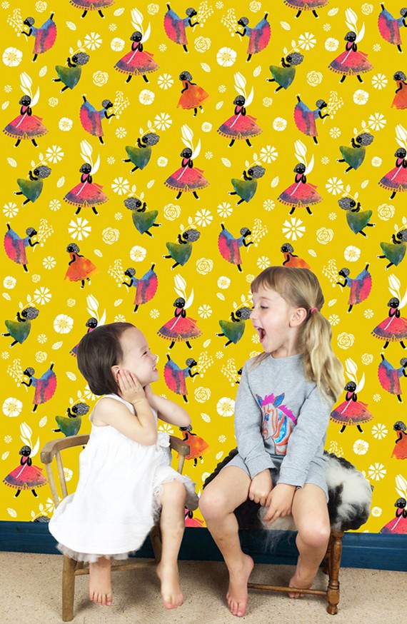 Flowergirls-Wallpaper-Yellow-image