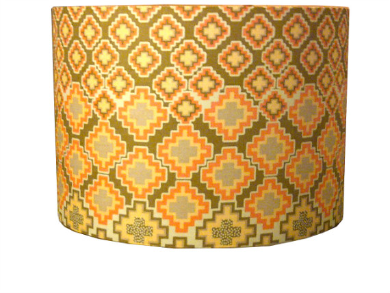 tola Olive Orange  Yellow Hexagon Geometric Lampshade by Detola and Geek