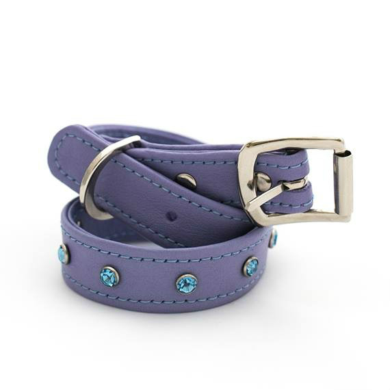 Blue diamante stud collars