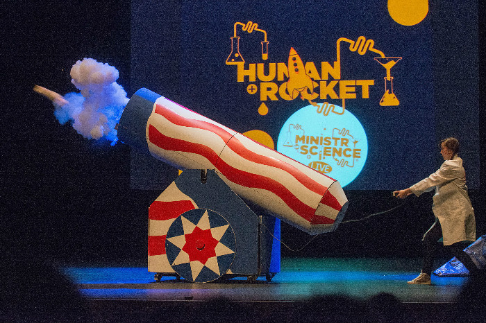 Emma Blackwell from the Ministry of Science launches a human rocket on stage in the Millennium Forum during CultureTECH. Picture Martin McKeown. Inpresspics.com.