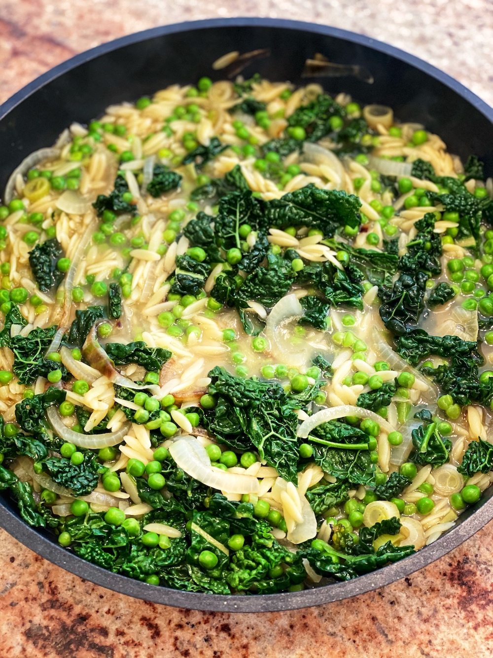 Delicious and Real Kale and Orzo stew