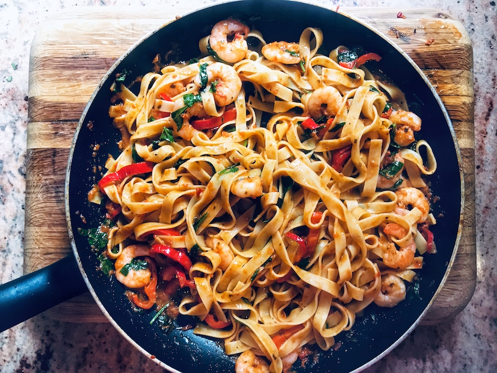 Delicious and Real tagliatelle and prawns